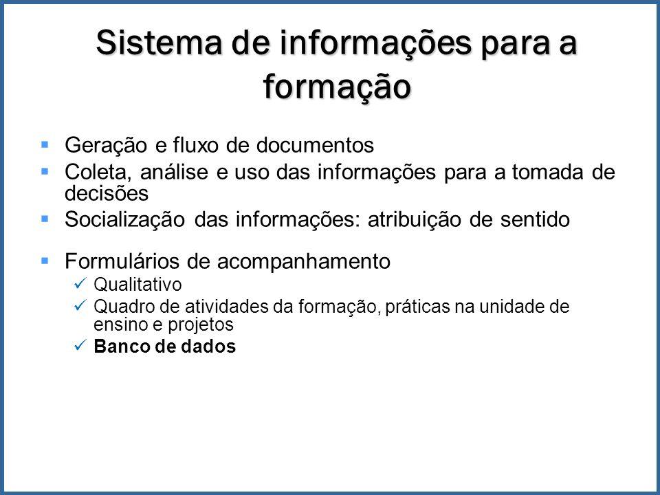 Sistema de informações para a formação