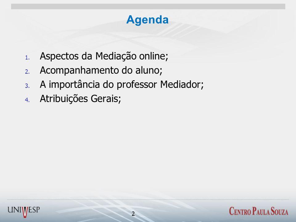 Agenda Aspectos da Mediação online; Acompanhamento do aluno;