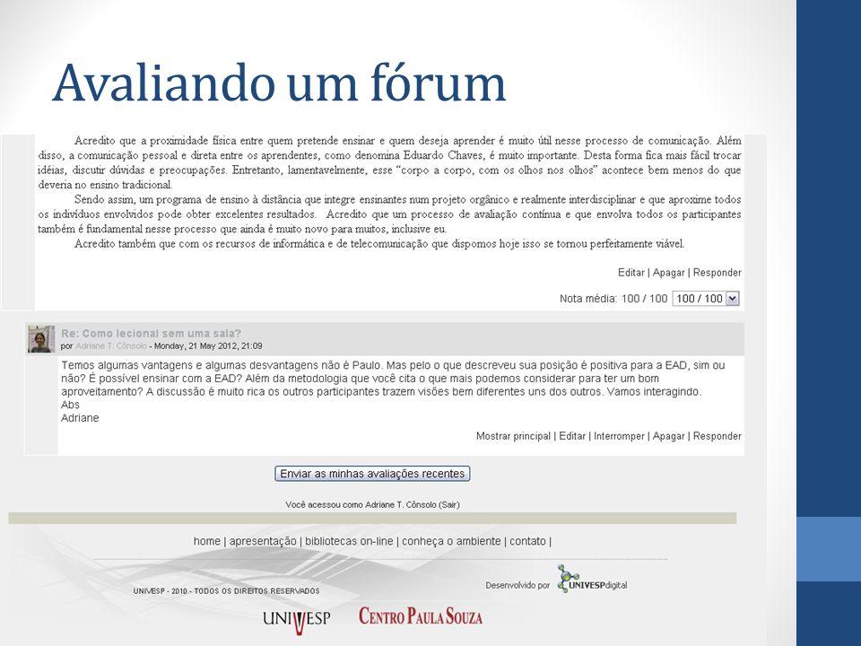 Avaliando um fórum