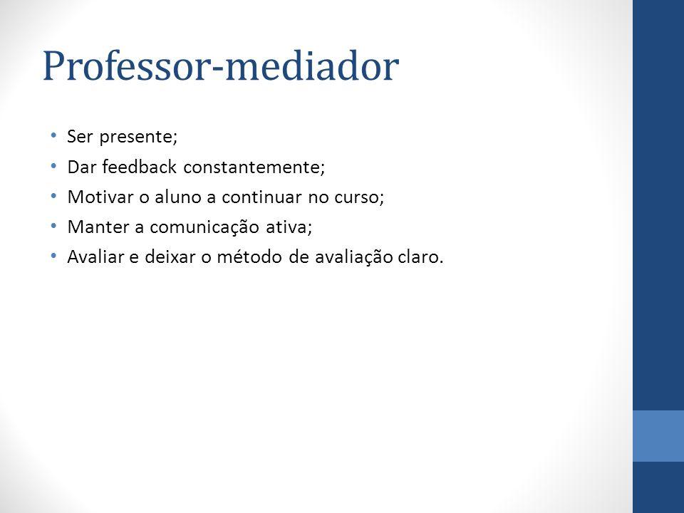 Professor-mediador Ser presente; Dar feedback constantemente;
