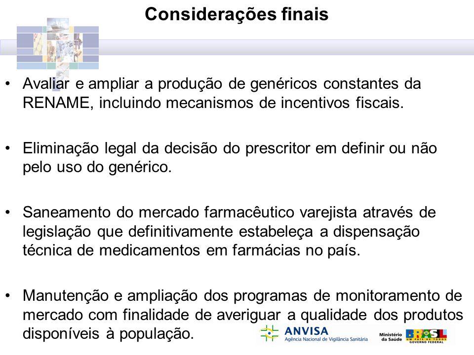 Considerações finais Avaliar e ampliar a produção de genéricos constantes da RENAME, incluindo mecanismos de incentivos fiscais.