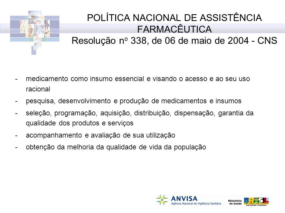 POLÍTICA NACIONAL DE ASSISTÊNCIA FARMACÊUTICA Resolução no 338, de 06 de maio de 2004 - CNS