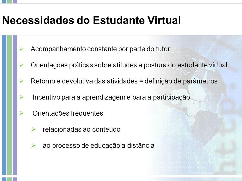 Necessidades do Estudante Virtual