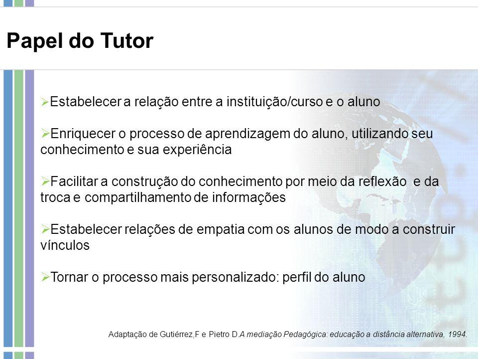 Papel do Tutor Estabelecer a relação entre a instituição/curso e o aluno.