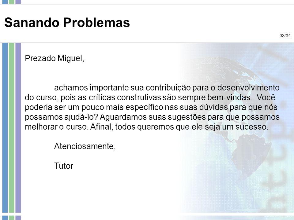 Sanando Problemas Prezado Miguel,