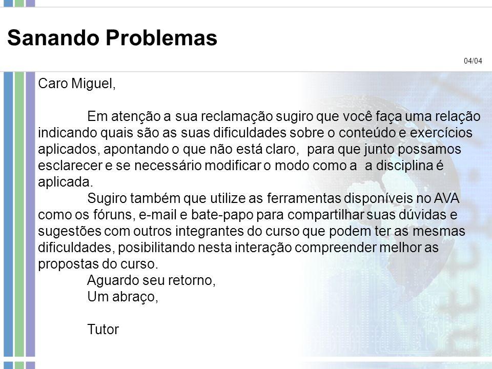 Sanando Problemas Caro Miguel,