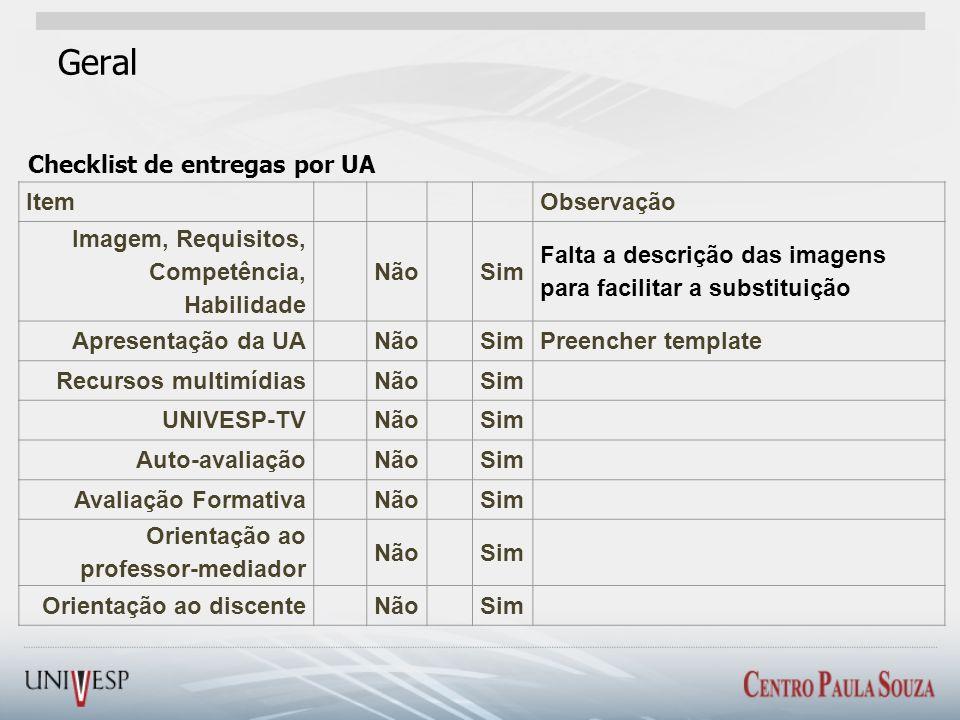Geral Checklist de entregas por UA Item Observação