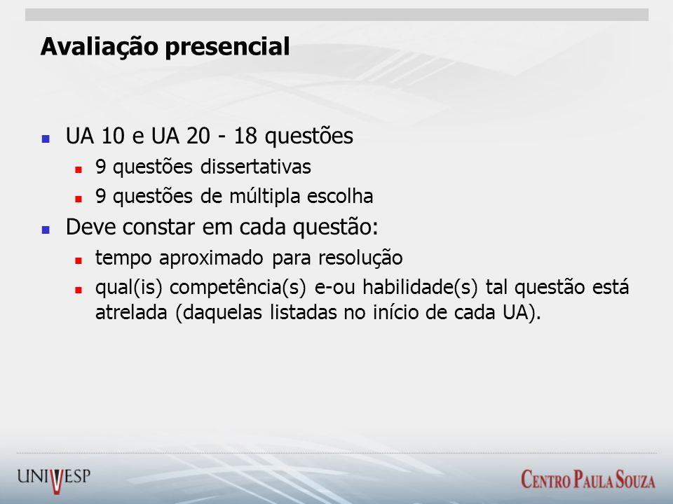 Avaliação presencial UA 10 e UA 20 - 18 questões