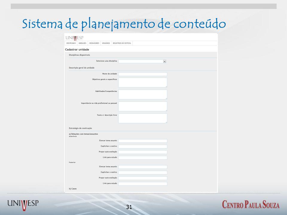 Sistema de planejamento de conteúdo