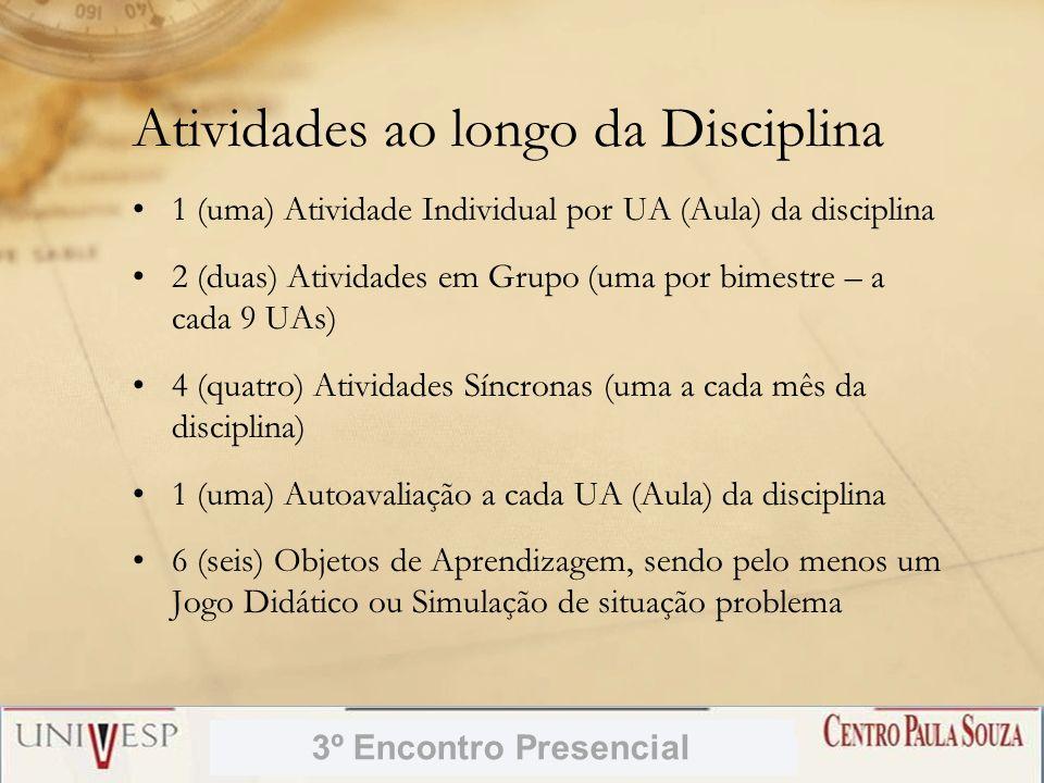 Atividades ao longo da Disciplina