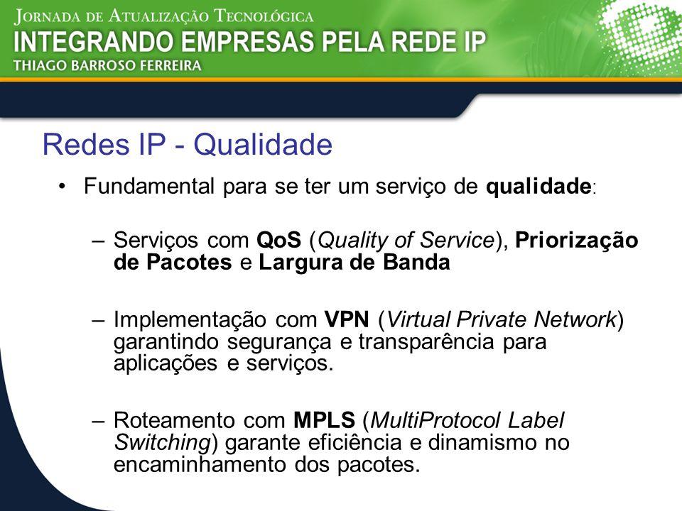 Redes IP - Qualidade Fundamental para se ter um serviço de qualidade: