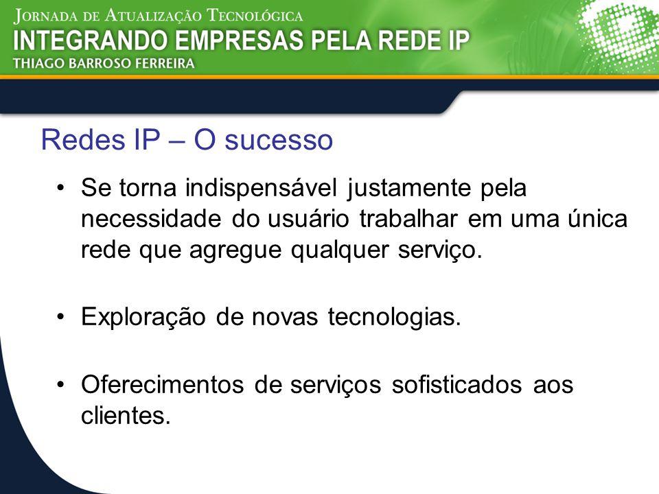 Redes IP – O sucesso Se torna indispensável justamente pela necessidade do usuário trabalhar em uma única rede que agregue qualquer serviço.