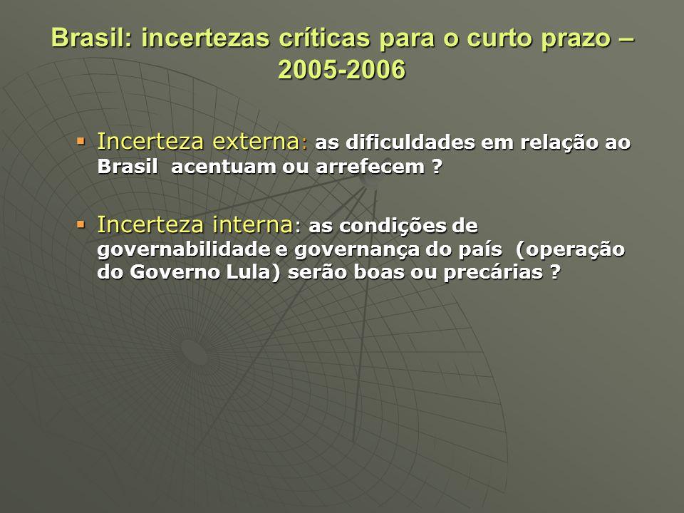 Brasil: incertezas críticas para o curto prazo – 2005-2006