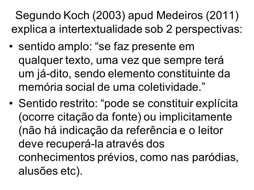 Segundo Koch (2003) apud Medeiros (2011) explica a intertextualidade sob 2 perspectivas: