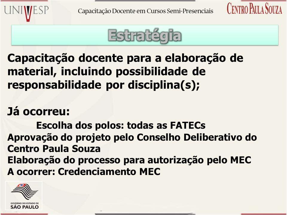 Estratégia Capacitação docente para a elaboração de material, incluindo possibilidade de responsabilidade por disciplina(s);