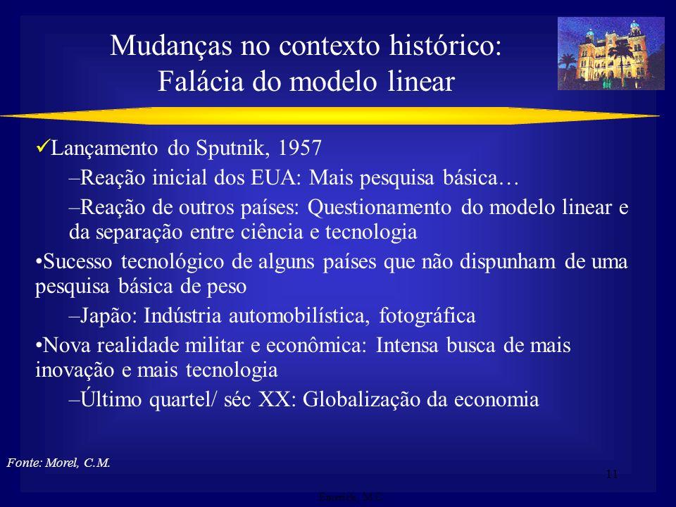 Mudanças no contexto histórico: Falácia do modelo linear