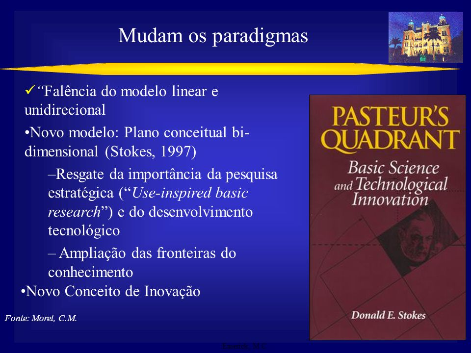 Mudam os paradigmas Falência do modelo linear e unidirecional. Novo modelo: Plano conceitual bi-dimensional (Stokes, 1997)