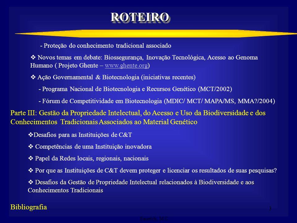 ROTEIRO - Proteção do conhecimento tradicional associado.