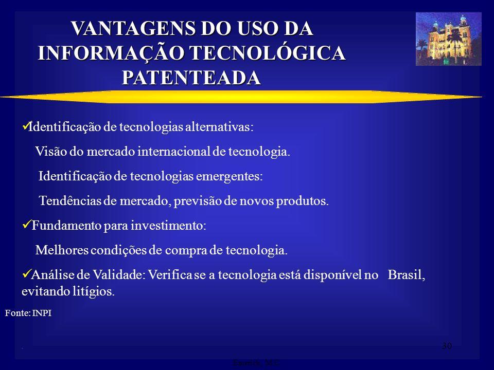 VANTAGENS DO USO DA INFORMAÇÃO TECNOLÓGICA PATENTEADA