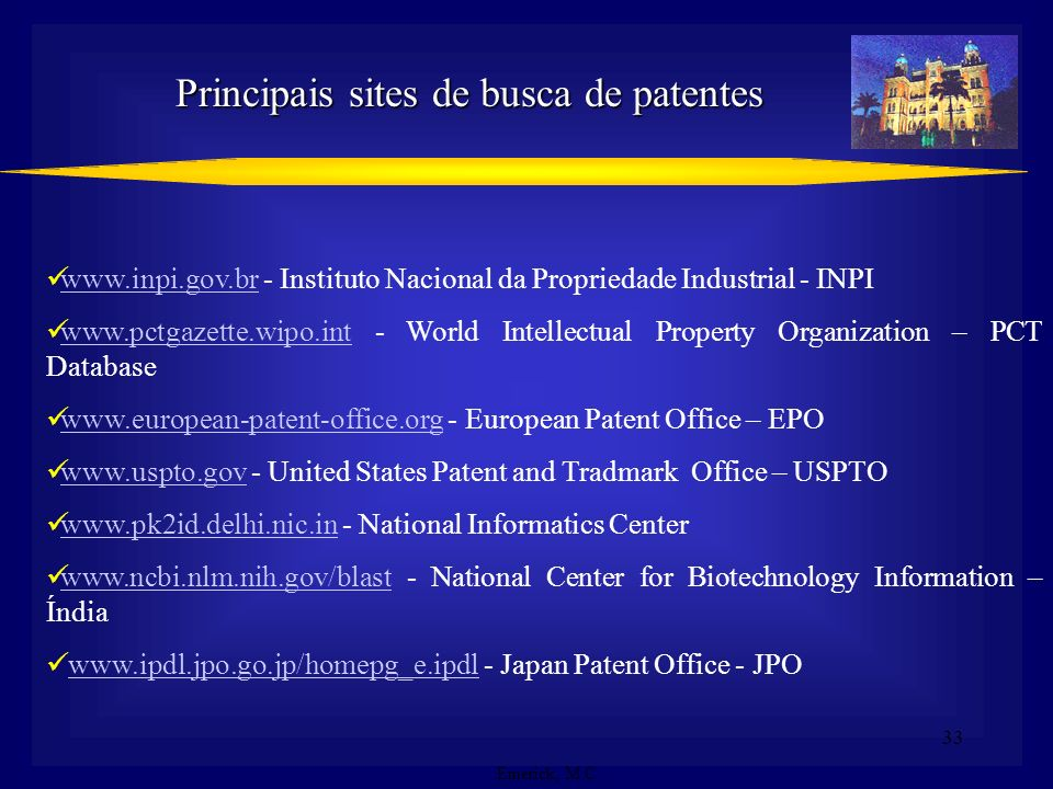 Principais sites de busca de patentes