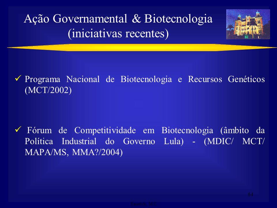 Ação Governamental & Biotecnologia (iniciativas recentes)