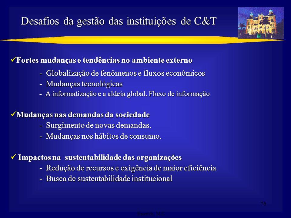 Desafios da gestão das instituições de C&T
