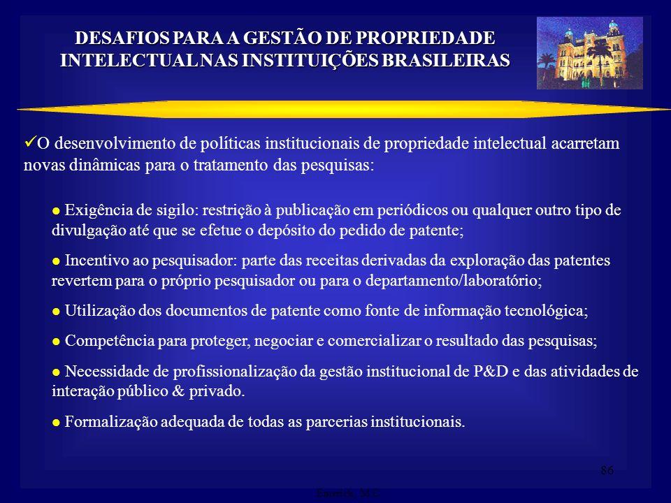 DESAFIOS PARA A GESTÃO DE PROPRIEDADE INTELECTUAL NAS INSTITUIÇÕES BRASILEIRAS