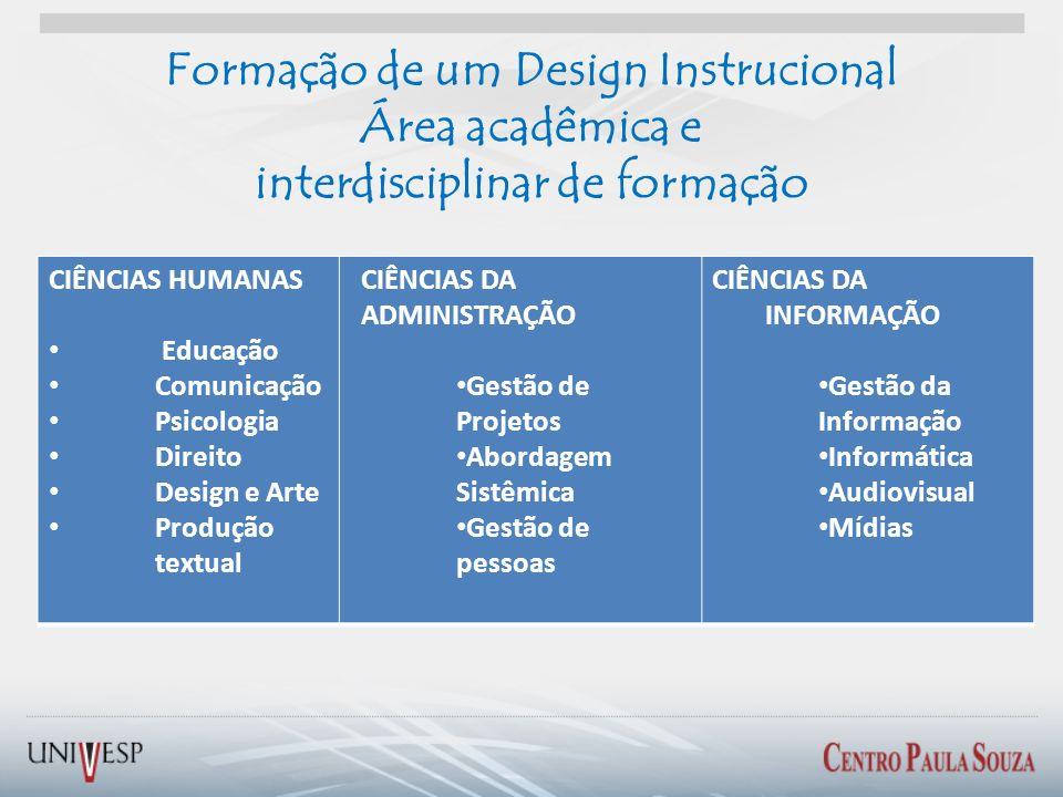 Formação de um Design Instrucional Área acadêmica e interdisciplinar de formação