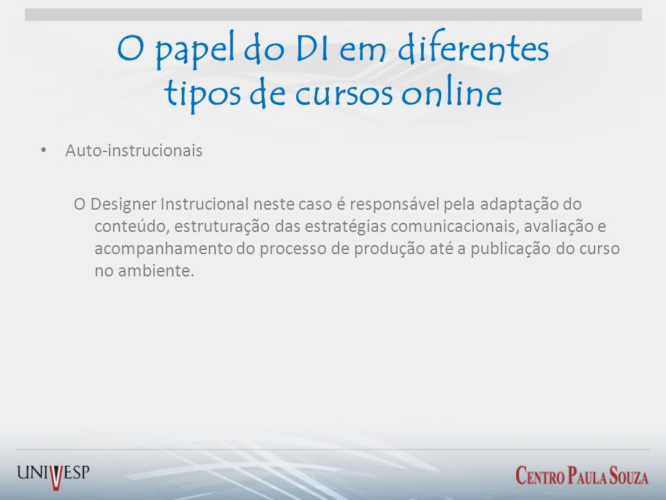 O papel do DI em diferentes tipos de cursos online