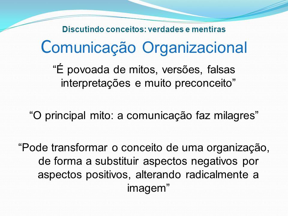Discutindo conceitos: verdades e mentiras Comunicação Organizacional