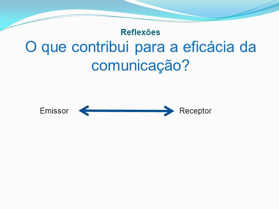 Reflexões O que contribui para a eficácia da comunicação