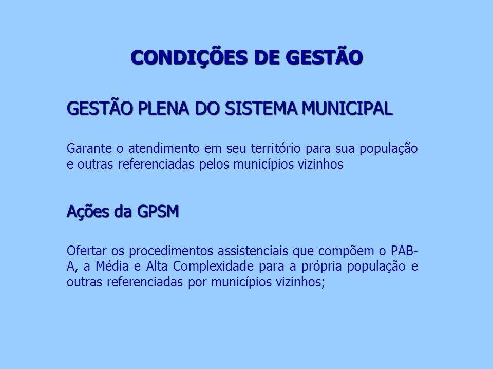 CONDIÇÕES DE GESTÃO GESTÃO PLENA DO SISTEMA MUNICIPAL Ações da GPSM