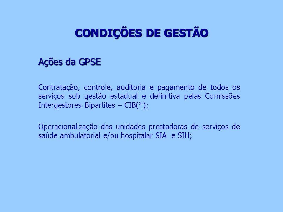 CONDIÇÕES DE GESTÃO Ações da GPSE
