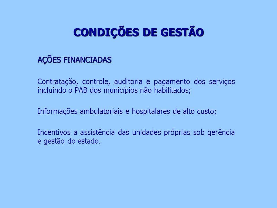 CONDIÇÕES DE GESTÃO AÇÕES FINANCIADAS