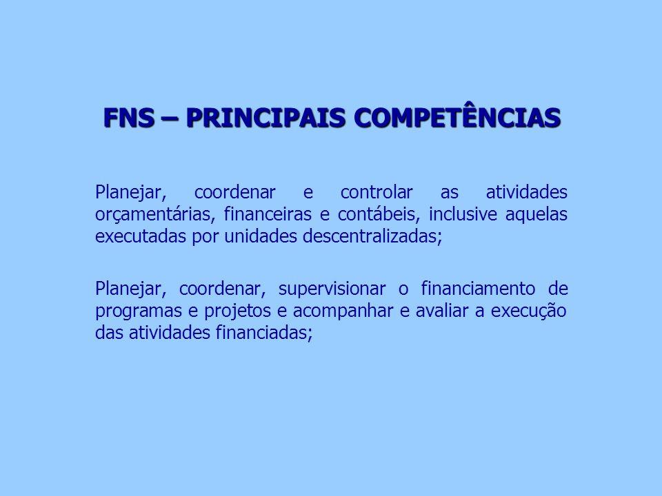 FNS – PRINCIPAIS COMPETÊNCIAS