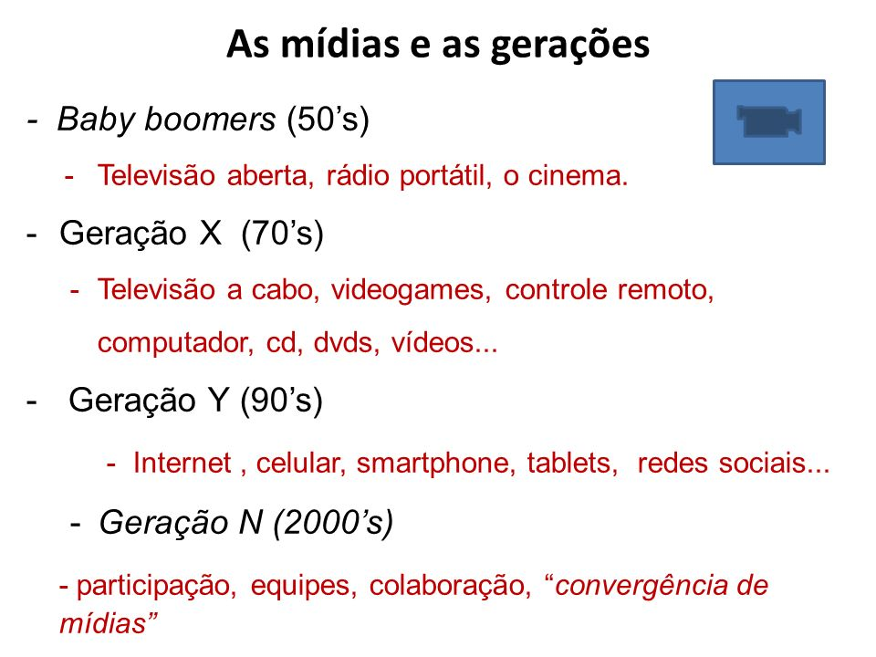 As mídias e as gerações - Baby boomers (50's) Televisão aberta, rádio portátil, o cinema. Geração X (70's)
