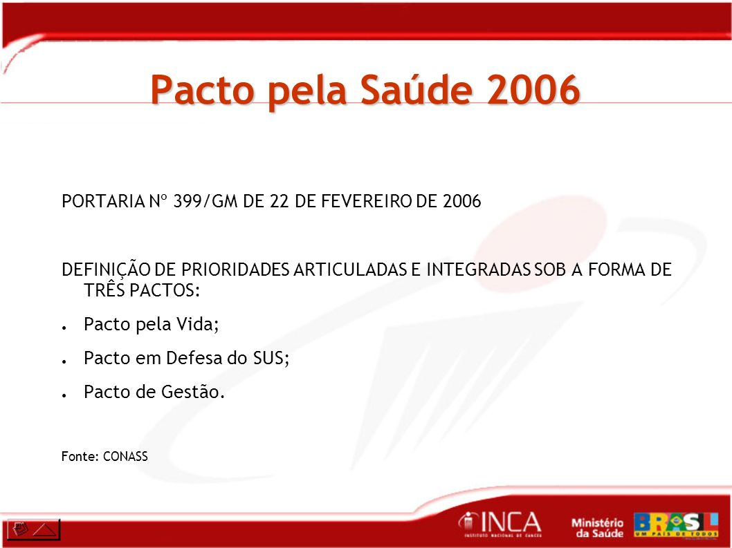 Pacto pela Saúde 2006 PORTARIA Nº 399/GM DE 22 DE FEVEREIRO DE 2006
