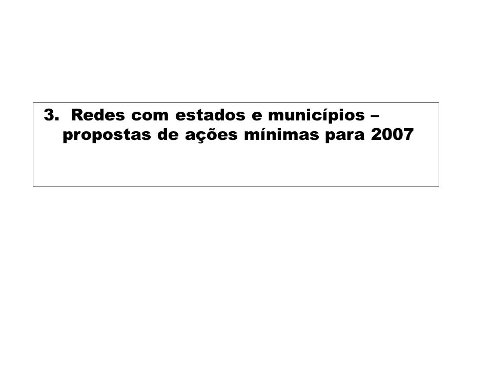 3. Redes com estados e municípios – propostas de ações mínimas para 2007