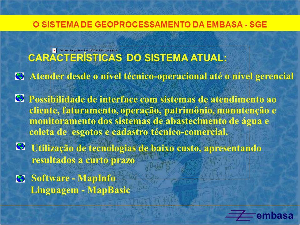 O SISTEMA DE GEOPROCESSAMENTO DA EMBASA - SGE