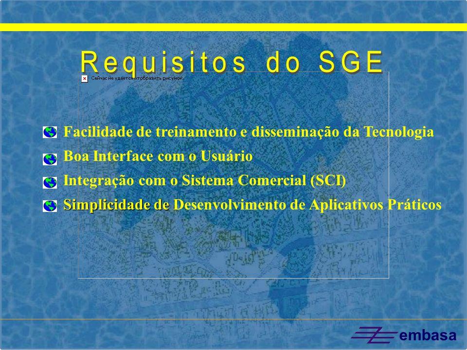 Requisitos do SGE Facilidade de treinamento e disseminação da Tecnologia. Boa Interface com o Usuário.