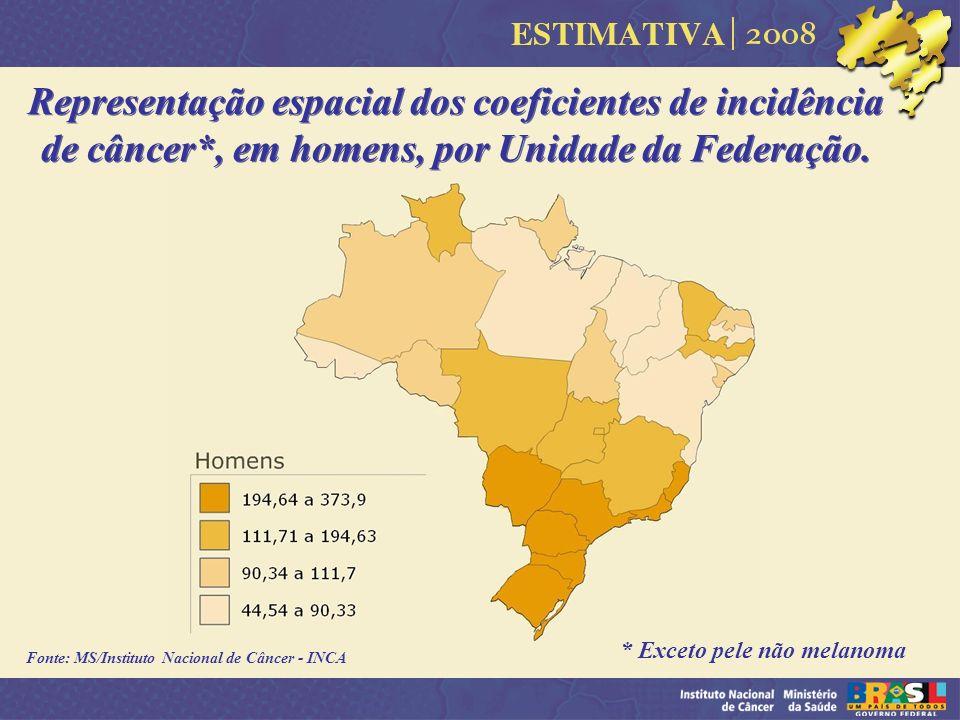 Representação espacial dos coeficientes de incidência de câncer