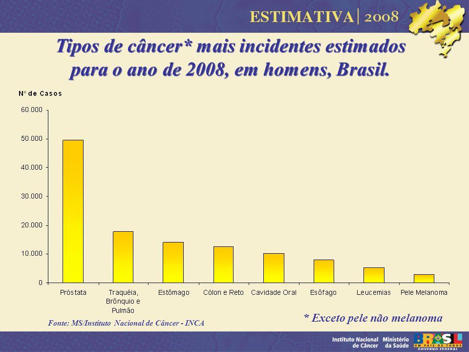 Tipos de câncer* mais incidentes estimados para o ano de 2008, em homens, Brasil.
