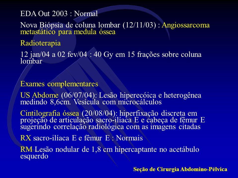 12 jan/04 a 02 fev/04 : 40 Gy em 15 frações sobre coluna lombar
