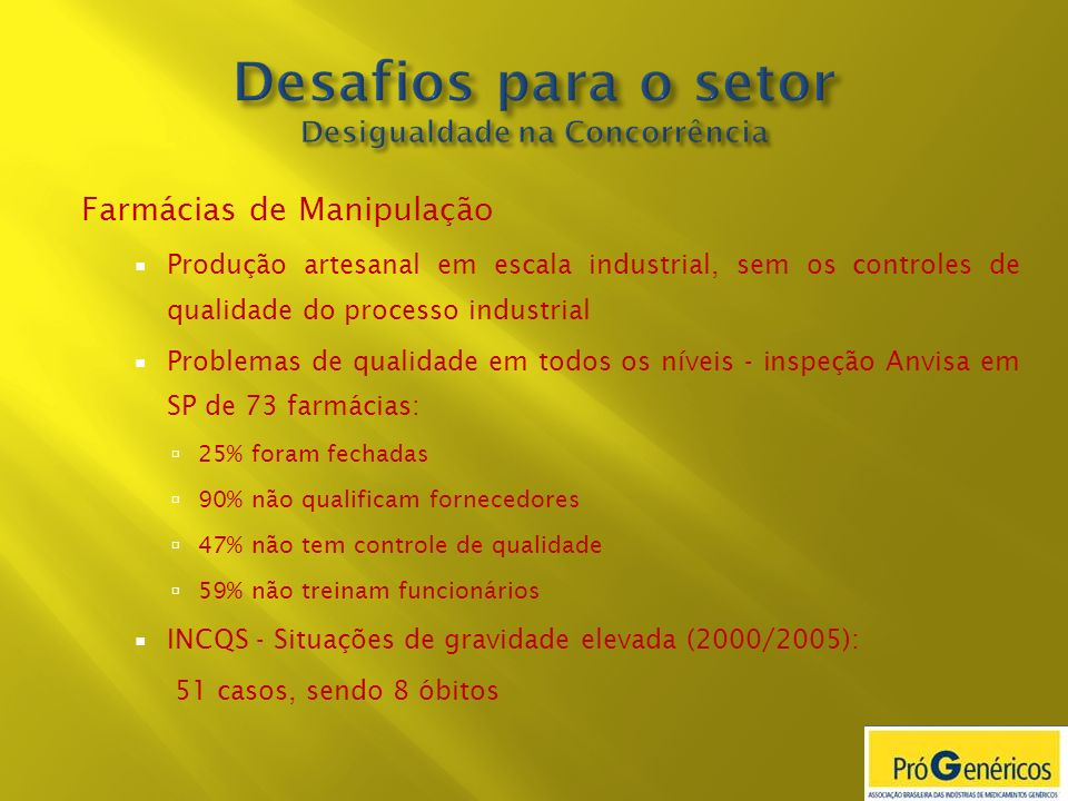 Desafios para o setor Desigualdade na Concorrência