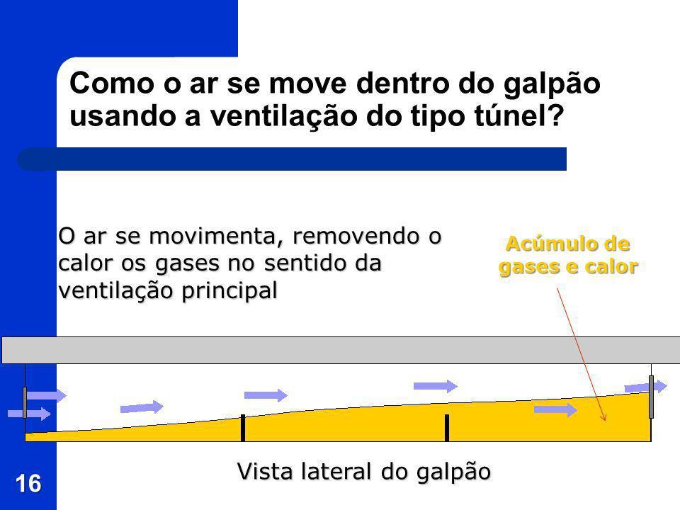 Como o ar se move dentro do galpão usando a ventilação do tipo túnel