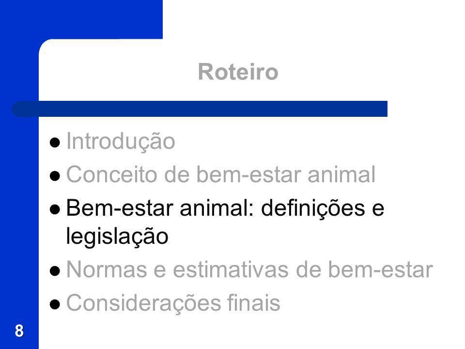Roteiro Introdução. Conceito de bem-estar animal. Bem-estar animal: definições e legislação. Normas e estimativas de bem-estar.