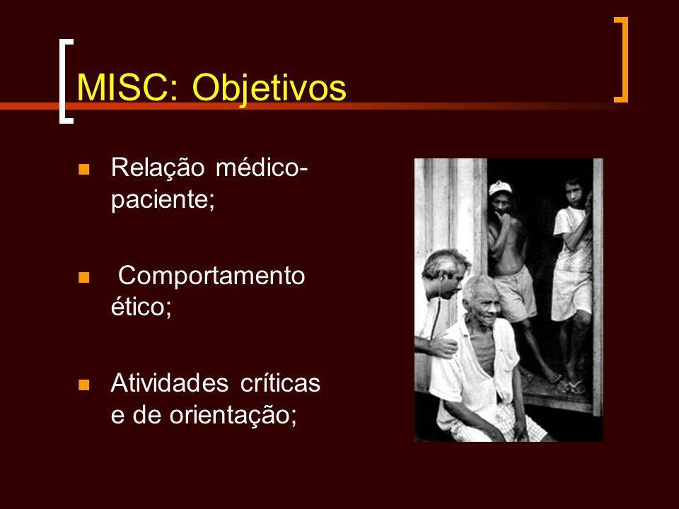 MISC: Objetivos Relação médico-paciente; Comportamento ético;