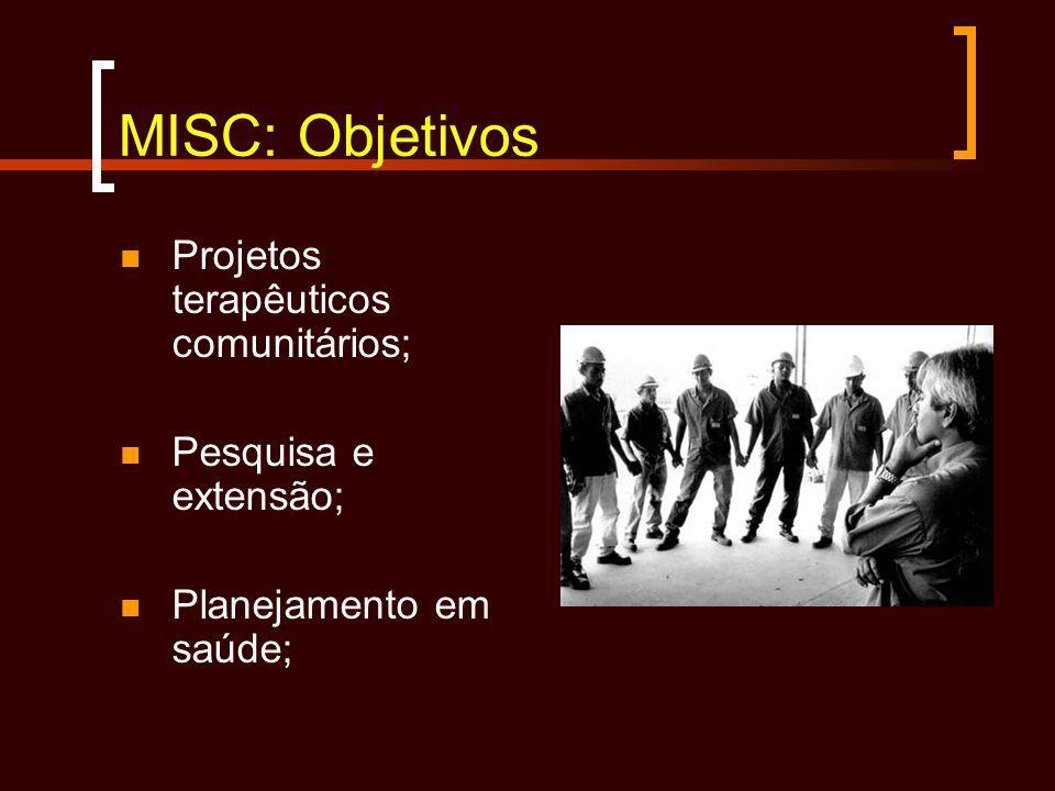 MISC: Objetivos Projetos terapêuticos comunitários;
