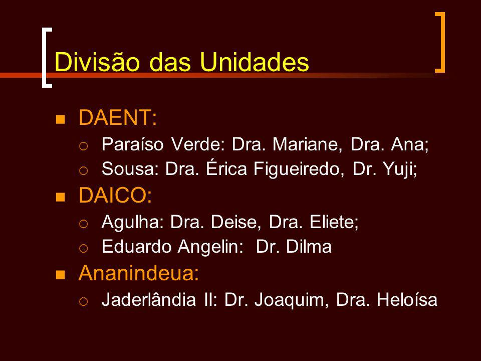 Divisão das Unidades DAENT: DAICO: Ananindeua: