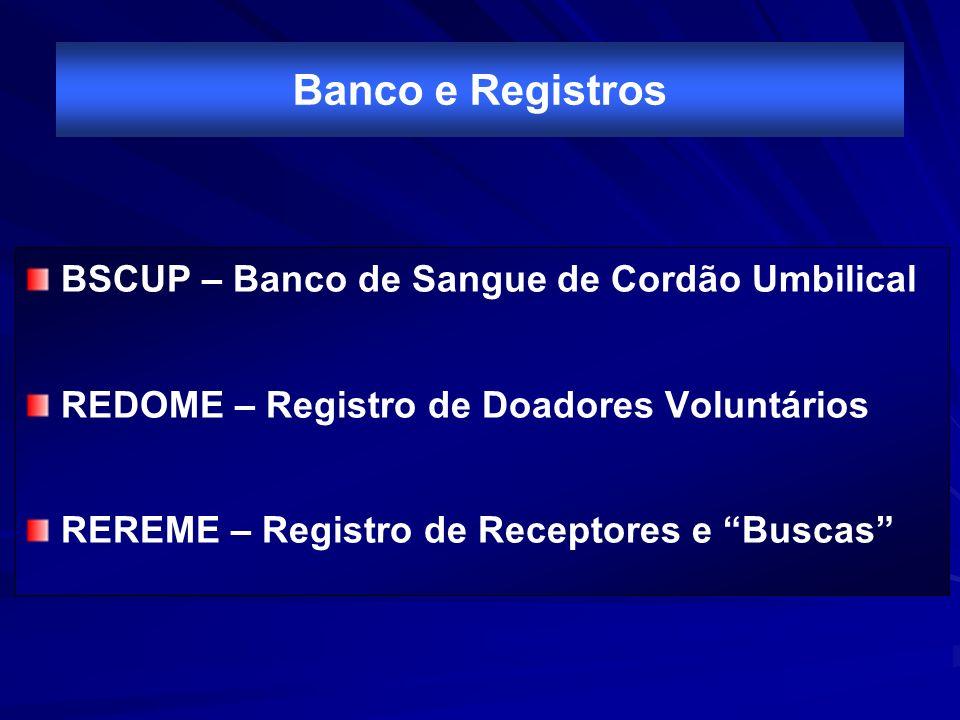 Banco e Registros BSCUP – Banco de Sangue de Cordão Umbilical